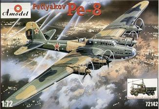 A Model From Russia 1/72 Pe8 Petlyakov WWII Soviet Bomber & AS2 Aircraft Starter on GAZ-AAA Truck Chassis Kit