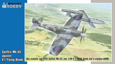 Special Hobby 1/48 Spitfire Mk XII Aircraft against Fieseler Fi103 V1 Flying Bomb Aircraft (2) Kits)
