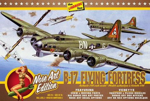 Lindberg 1/64 B17G Flying Fortress Nose Art Edition Aircraft Kit