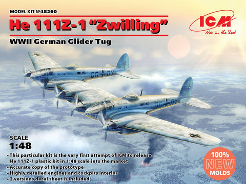 ICM Aircraft 1/48 WWII German He111Z1 Zwilling Glider Tug Aircraft (New Tool) Kit
