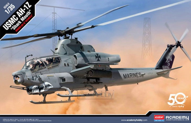 Academy 1/35 AH1Z Shark Mouth USMC Attack Helicopter (New Tool) Kit
