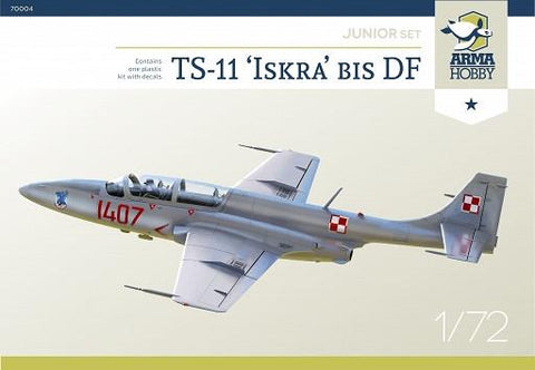 ARMA Hobby Aircraft 1/72 TS11 Iskra bis DF Two-Seater Trainer Recon Aircraft (Junior Kit)