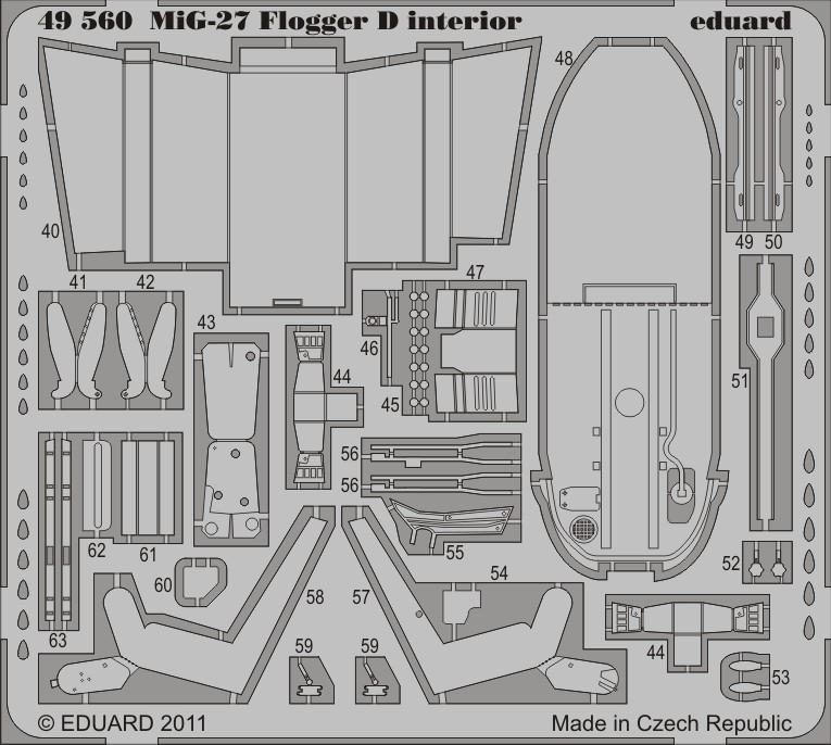 Eduard Details 1/48 Aircraft - MiG27 Flogger D Interior for ITA (Painted Self Adhesive)