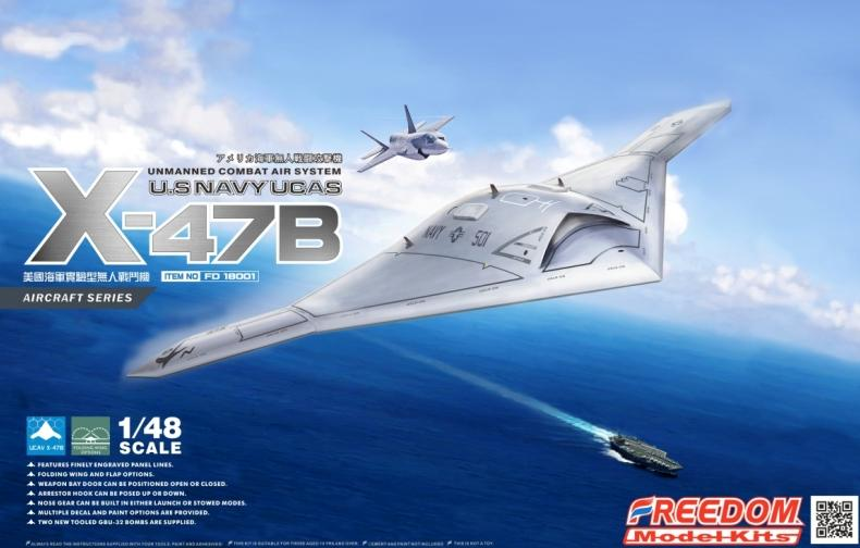 Freedom Model Aircraft 1/48 X47B UCAV (unmanned combat air system) USN Modern Aircraft Kit