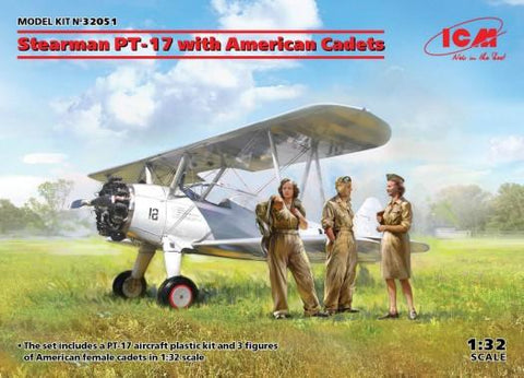 ICM 1/32 Stearman PT17 BiPlane w/3 Newly Tooled American Cadets Kit