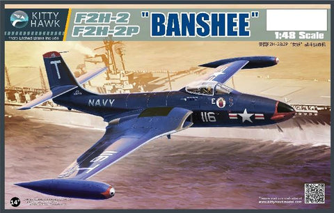 Kitty Hawk Aircraft 1/48 F2H2/2P Banshee Jet Fighter Kit