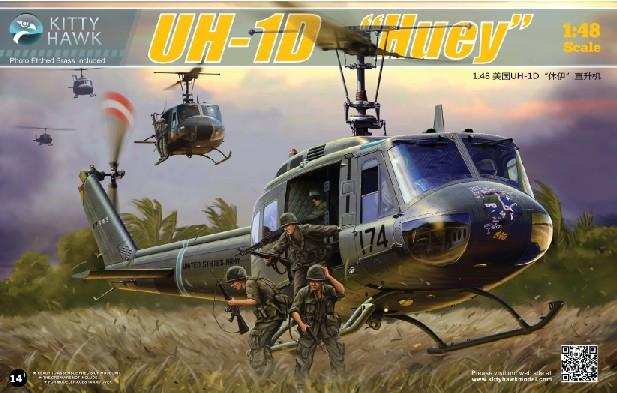 Kitty Hawk 1/48 UH1D Huey Helicopter Kit (New Tool)