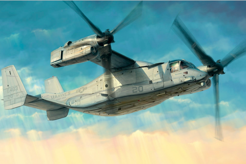 This is an image of the Hobby Boss Aircraft 1/48 MV-22 Osprey Kit