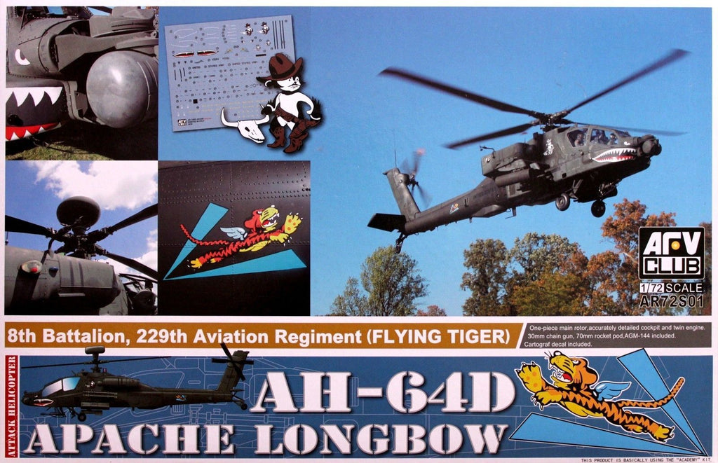 AFV Club Aircraft 1/72 AH64D Apache Longbow 8th Battalion, 229th Aviation Rgmt. Flying Tiger Attack Helicopter Kit