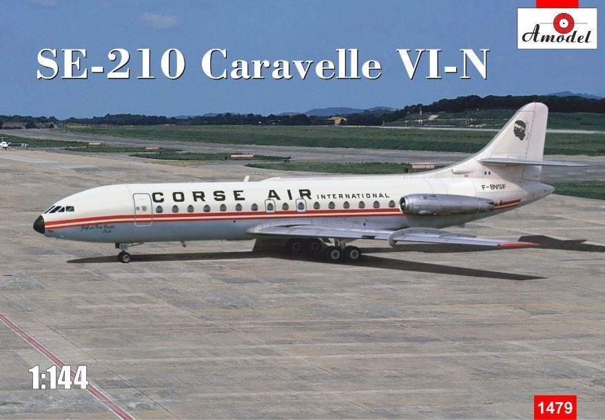 A Model 1/144 SE210 Caravelle VI-N Corse Air International Commercial Airliner Kit