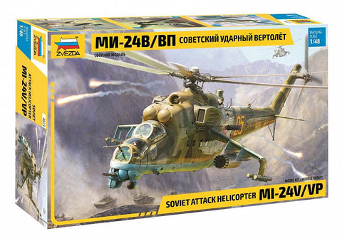 Zvezda Aircraft 1/48 Soviet Mil-Mi24V/VP Attack Helicopter (New Tool) Kit