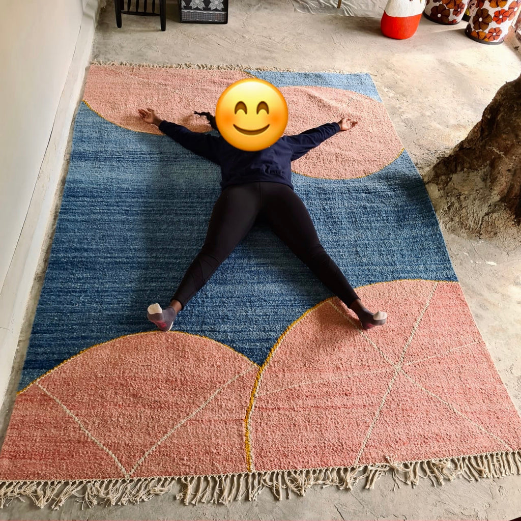 Large grapefruit woven rug