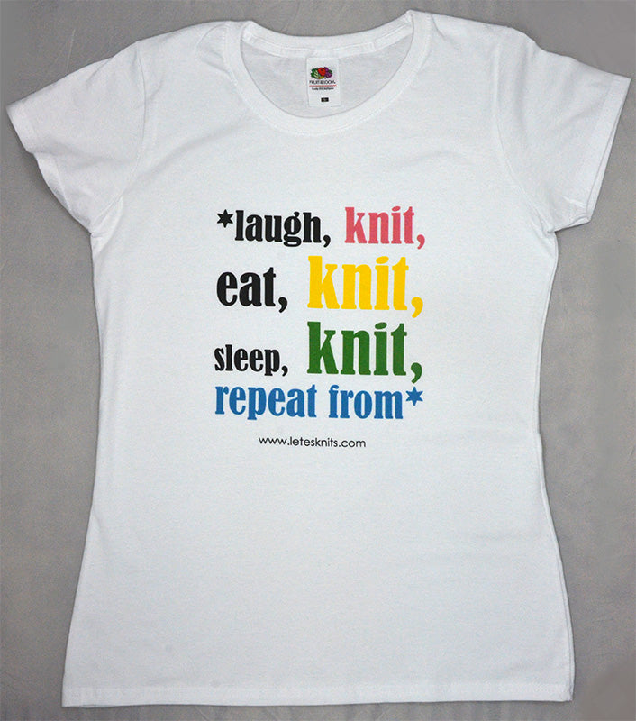T-shirt - laugh knit eat knit sleep knit...