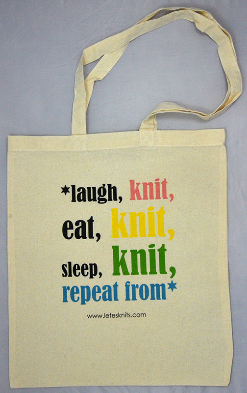 Tote Bag - laugh knit eat knit sleep knit...