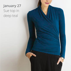 On January 27 Michelle wore the Sue top in deep teal