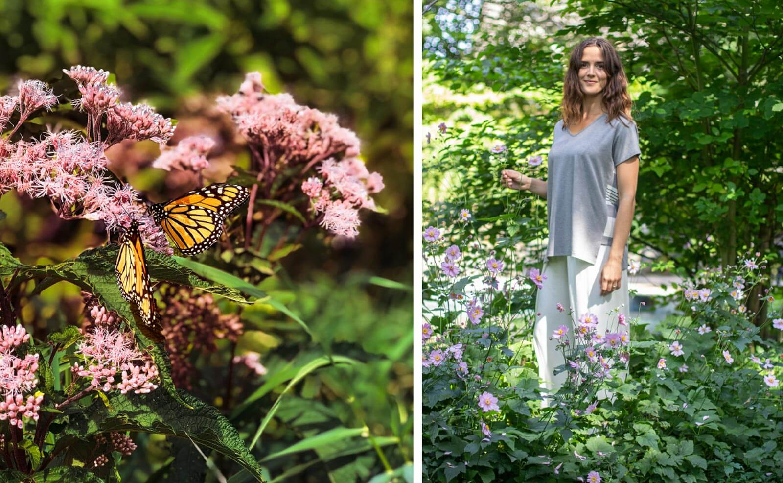 Woman standing in a flower garden with butterflies