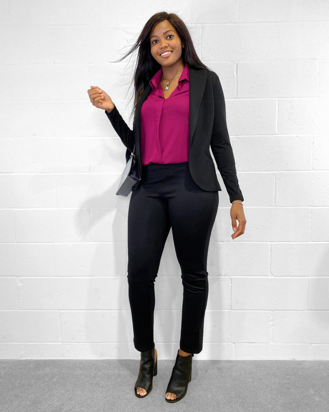 The Avery pant with a matching black blazer