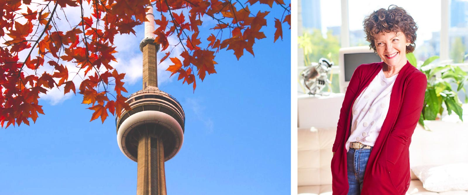 CN Tower with maple leaves