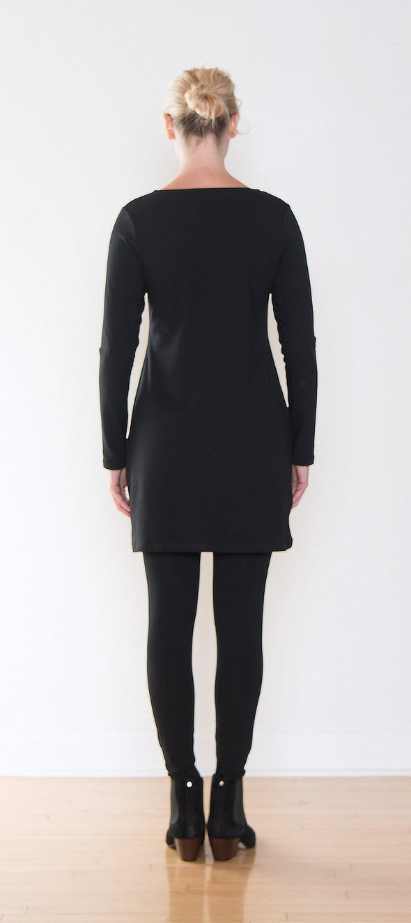 Back view of long sleeve black tunic