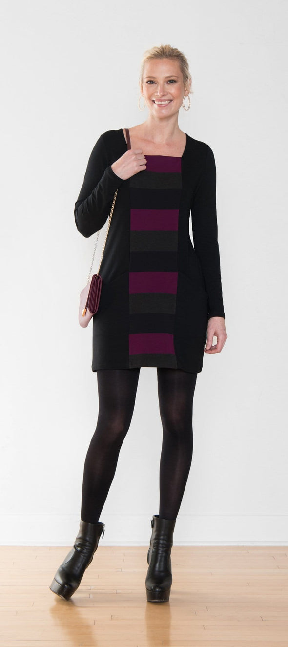 Long sleeve women's tunic in black and stripe