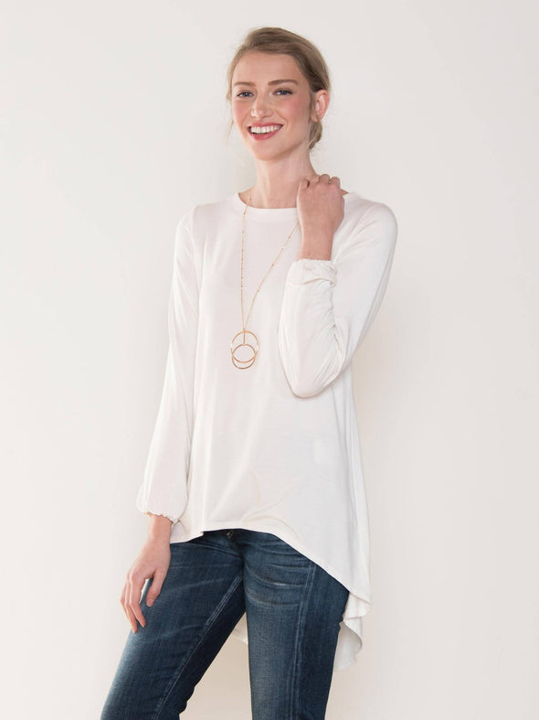 Angie gathered sleeve flowy top - FINAL SALE