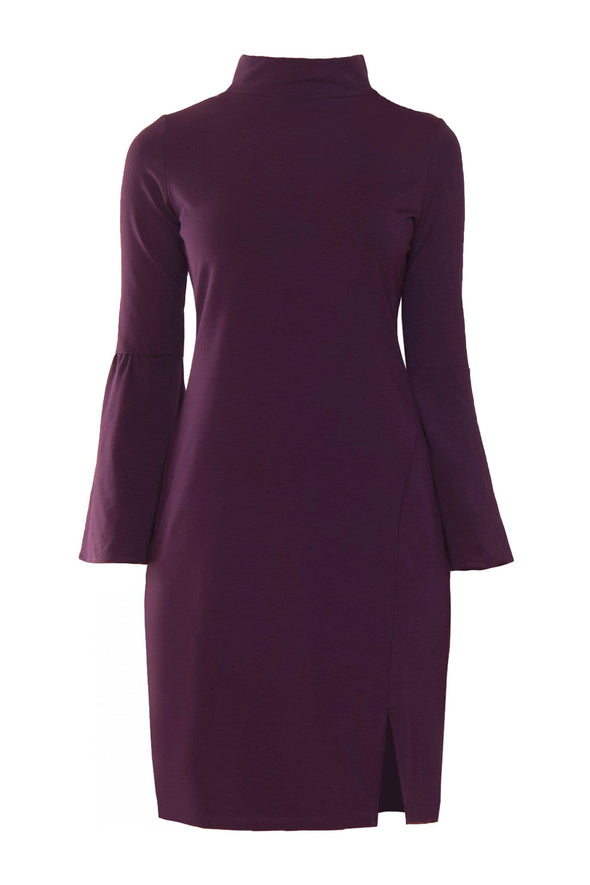 Reddish purple, knee-length dress with wide bell sleeves and funnel neckline
