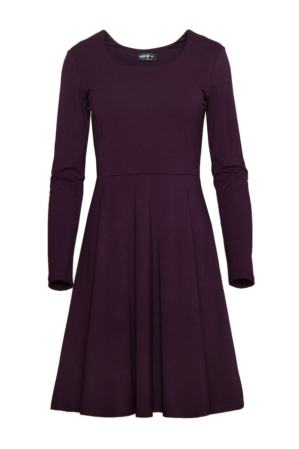 Women's fit and flare dress with long sleeves and a high rounded neckline, in a reddish purple color