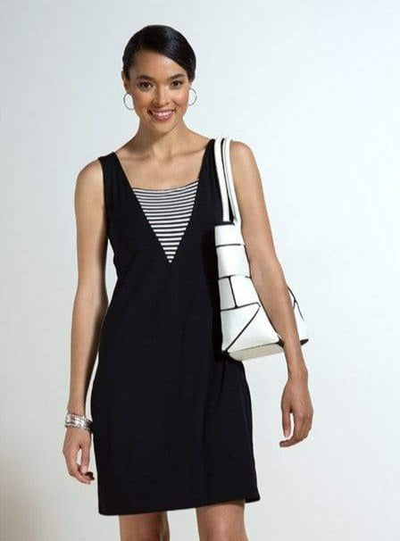 Ella reversible striped v dress