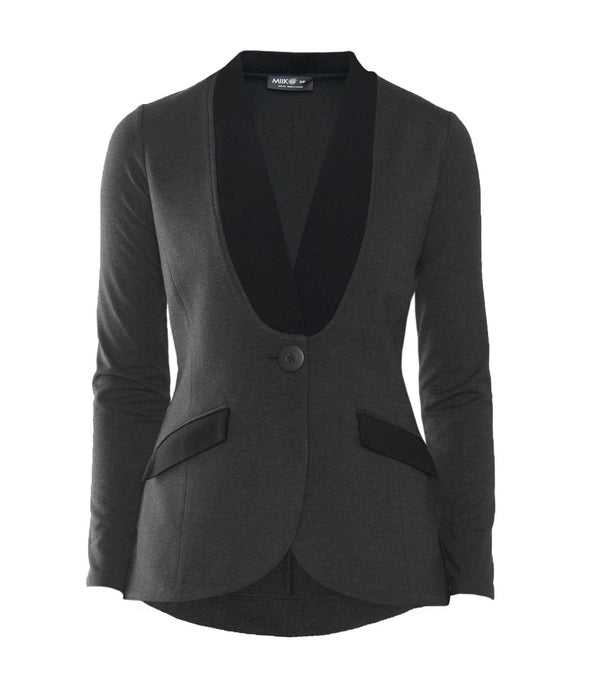 Dark grey women's blazer with black inset shawl collar, single-button closure and black flap pockets