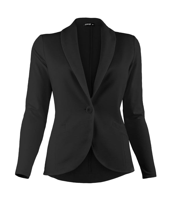 Women's blazer in black with single-button closure and welt pockets
