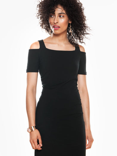 Felicia reversible cold-shoulder dress