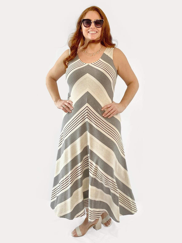 Gina chevron midi dress