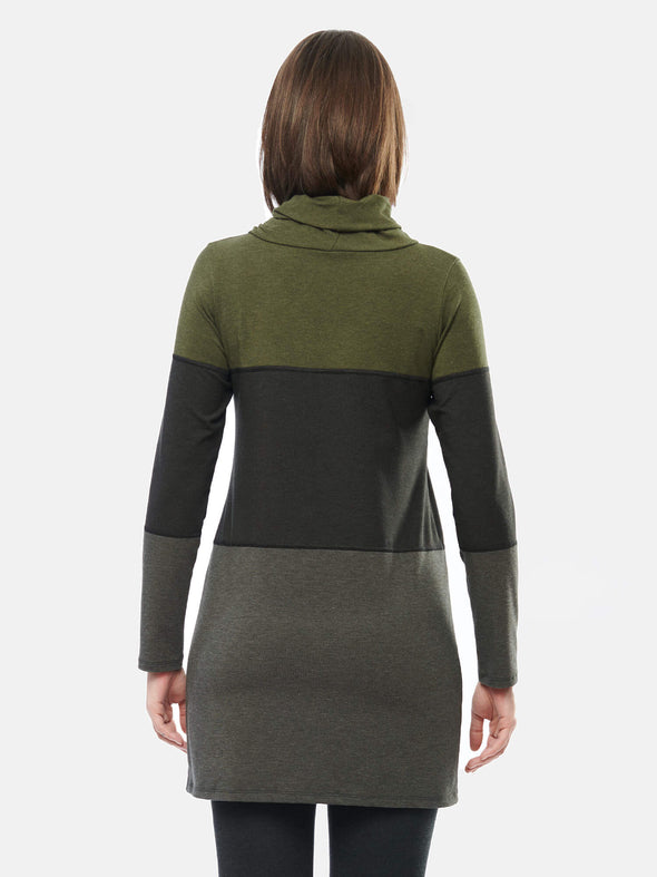 Hasha colourblock twisted cowl tunic
