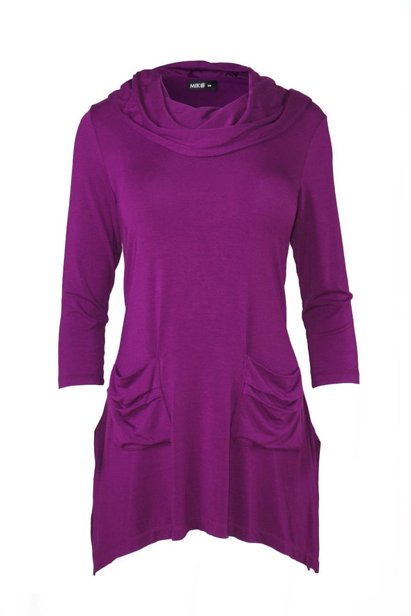 Jenna cowl-neck hooded tunic
