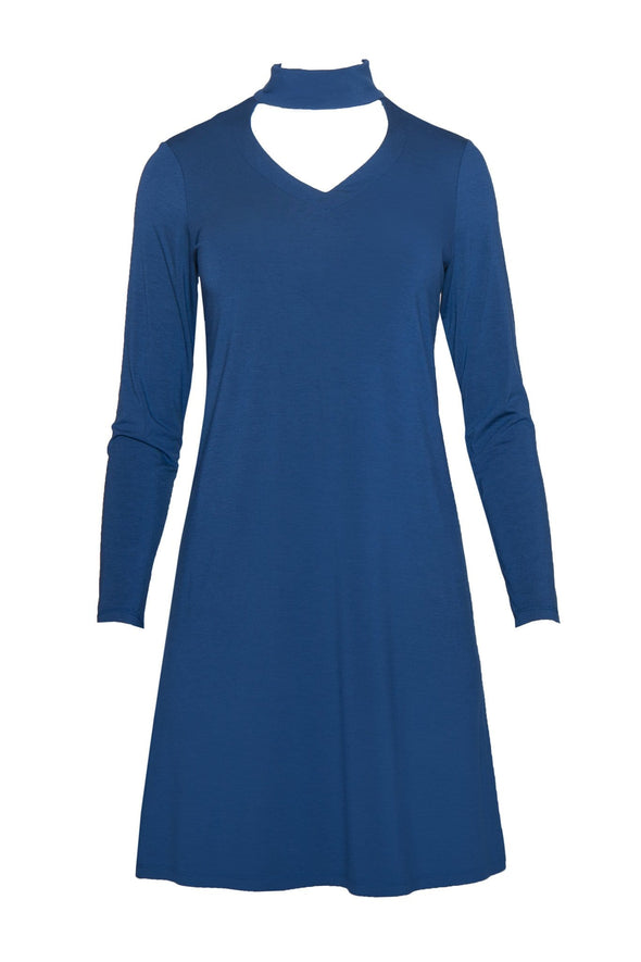 Blue women's knee-length, A-line dress with long sleeves, banded mock neck and v-neck cutout