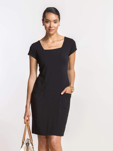 Jillian square-neck pocket dress