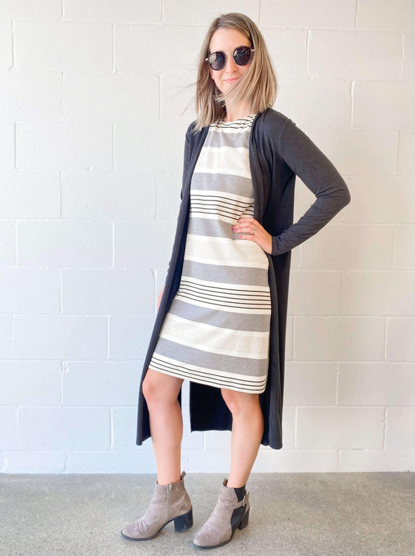 Athena reversible striped shift dress