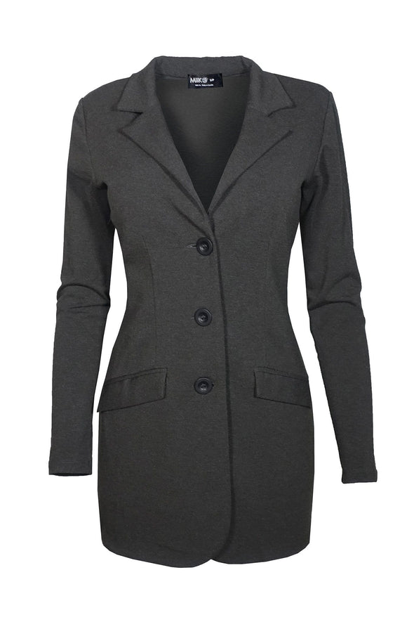 Long, dark charcoal grey women's blazer with 3-button closure, notched lapel, and flap pockets