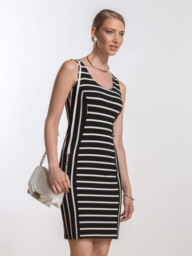Leona reversible fitted stripe dress