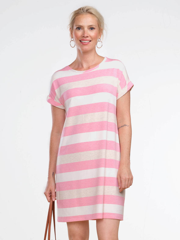 Liz rolled sleeve striped dress - FINAL SALE