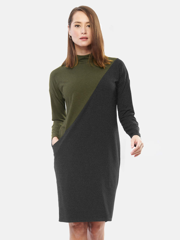 Max asymmetrical colourblock dress