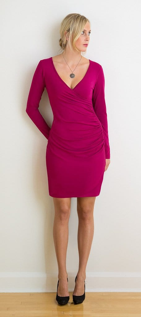 Myrna long-sleeve ruched dress