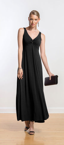 Nicole gathered-front maxi dress