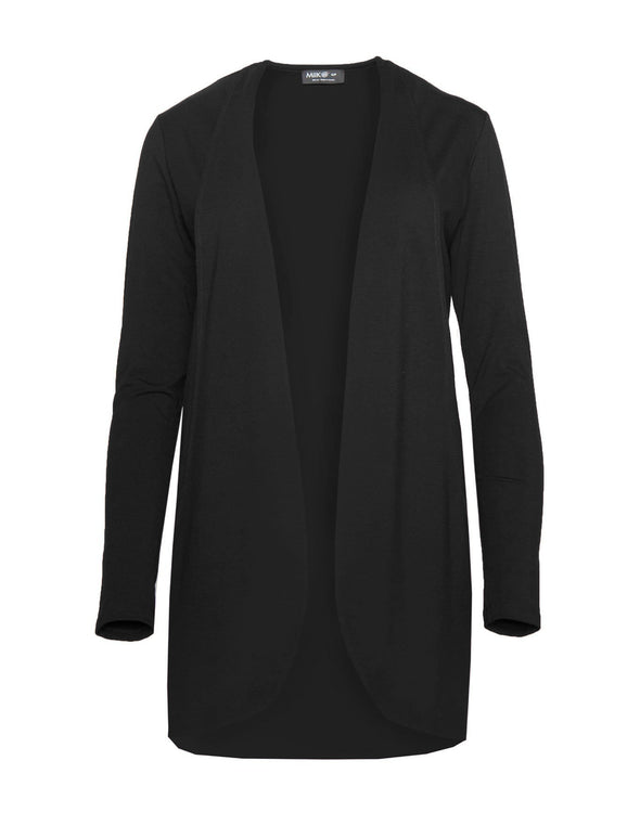 Reddish purple, open-front women's cardigan with a curved hem and pockets