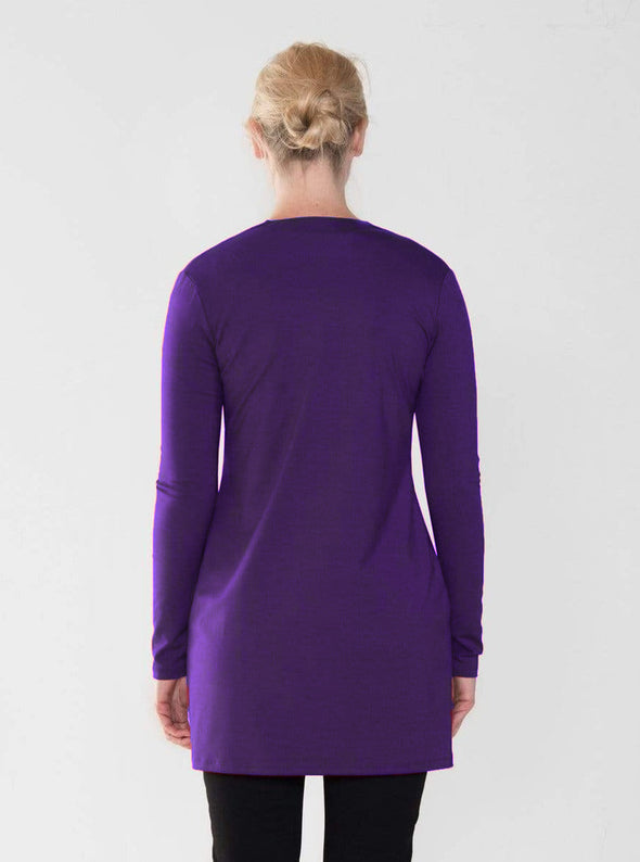 Back view of a red women's cardigan