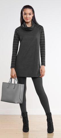 Reagan stripe sleeve cowl tunic