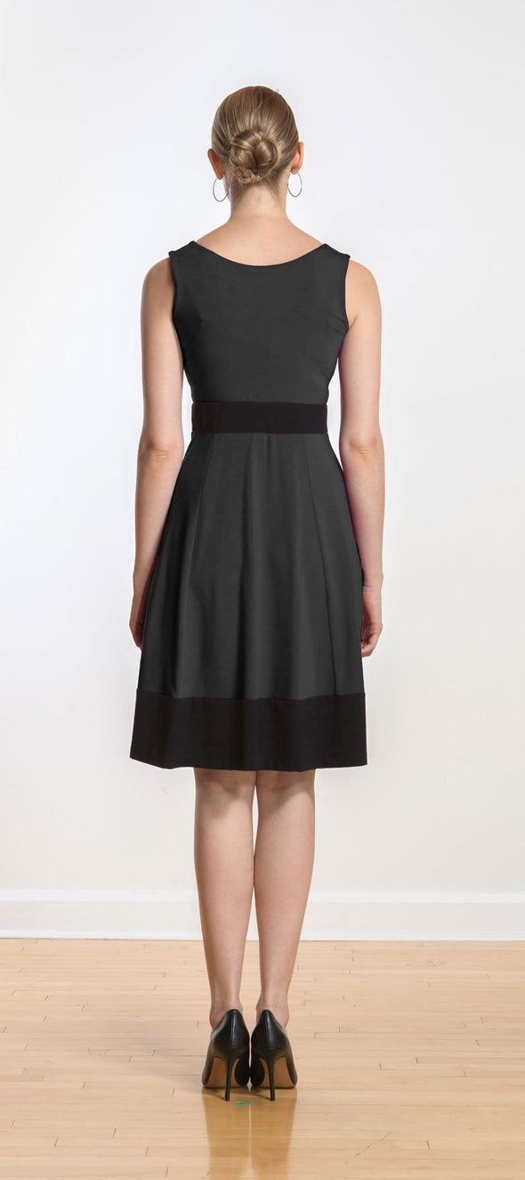 Rose contrast band flounce dress