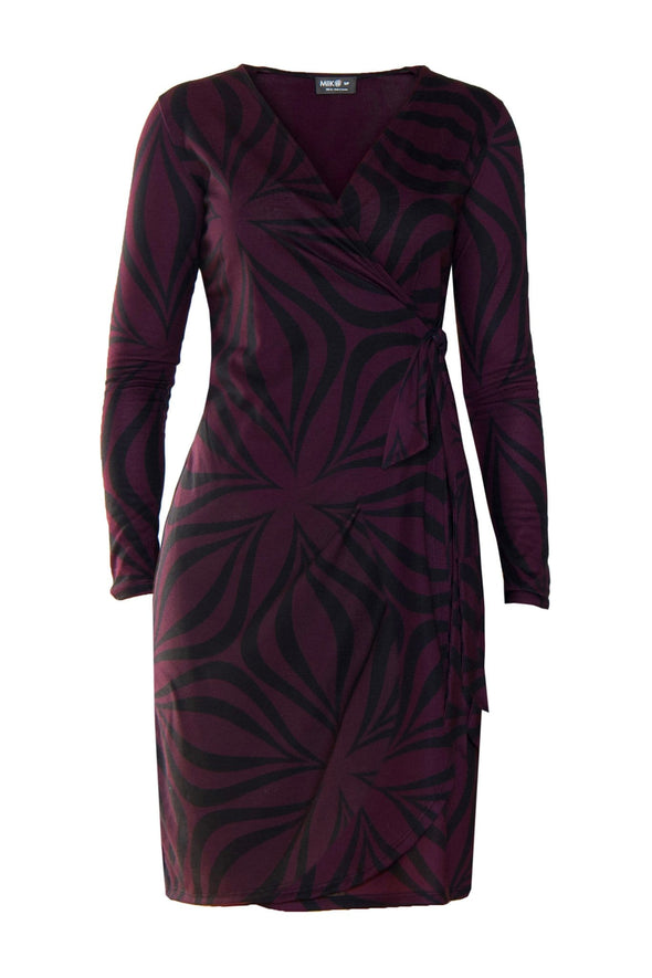Reddish purple, long sleeve wrap dress with a black, abstract, geometric pattern