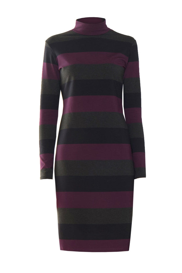 Women's turtleneck dress in a wide horizontal stripe pattern of black, dark grey, and reddish purple
