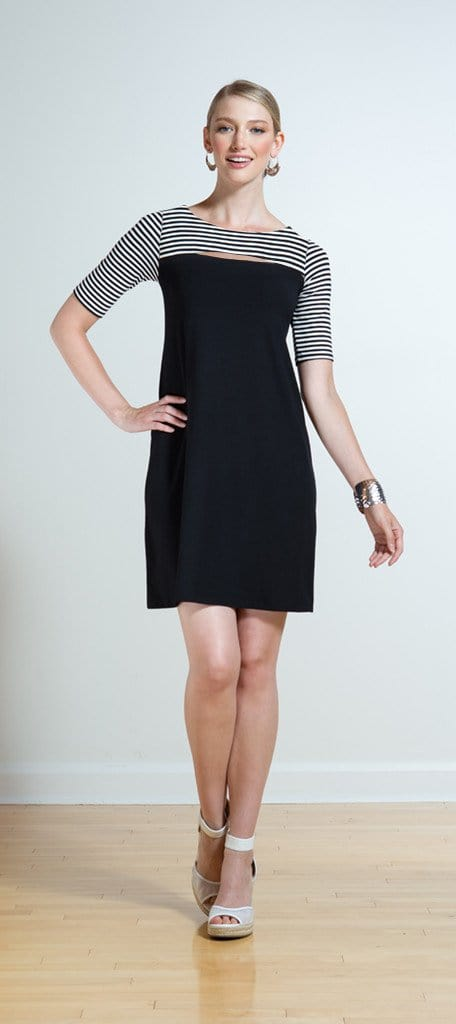 Zoey reversible striped cutout dress